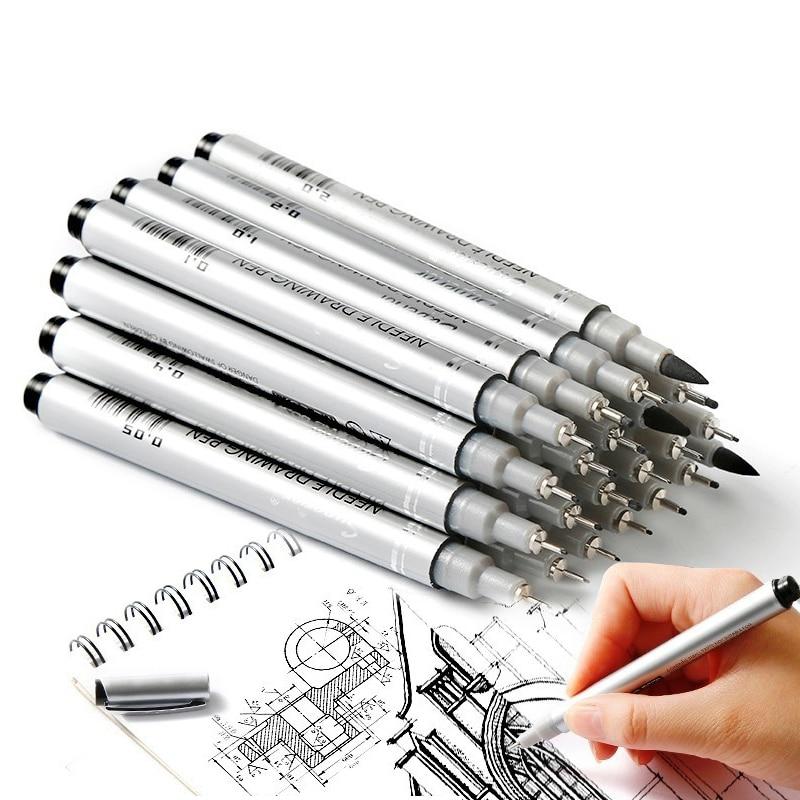 san 10 pces a prova dwaterproof agua agulha caneta desenho dos desenhos animados esboco para desenho