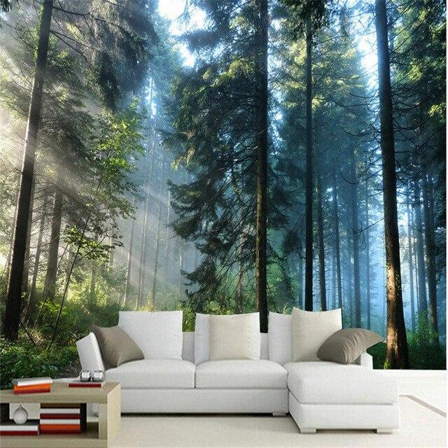 Benutzerdefinierte Malerei Für Wohnzimmer Natürlichen Wald Bäume Wand Kunst  Fotos Hintergrund Fotografie Schlafzimmer Murals 3d