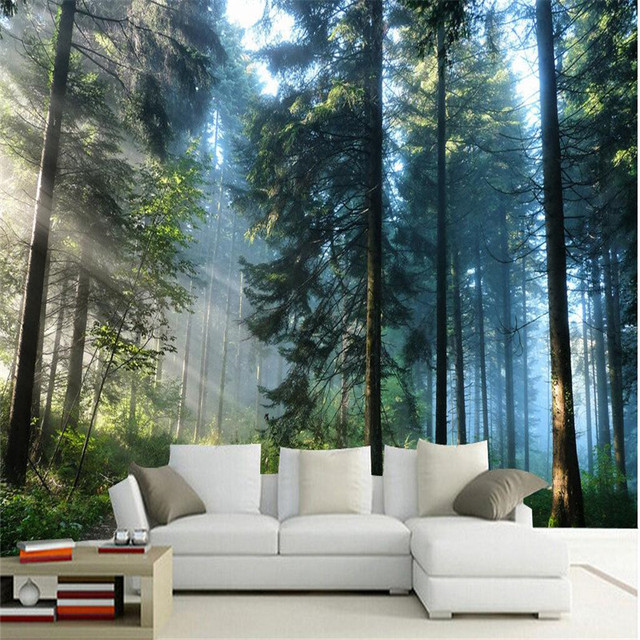Custom painting for living room natural forest trees wall ...
