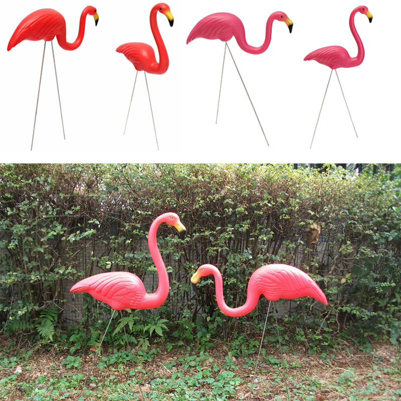 2PCS Outdoor Plastic Simulation Artificial Flamingo Decoration For Garden Festival Party Wedding Villa Gardening Decor Ornaments