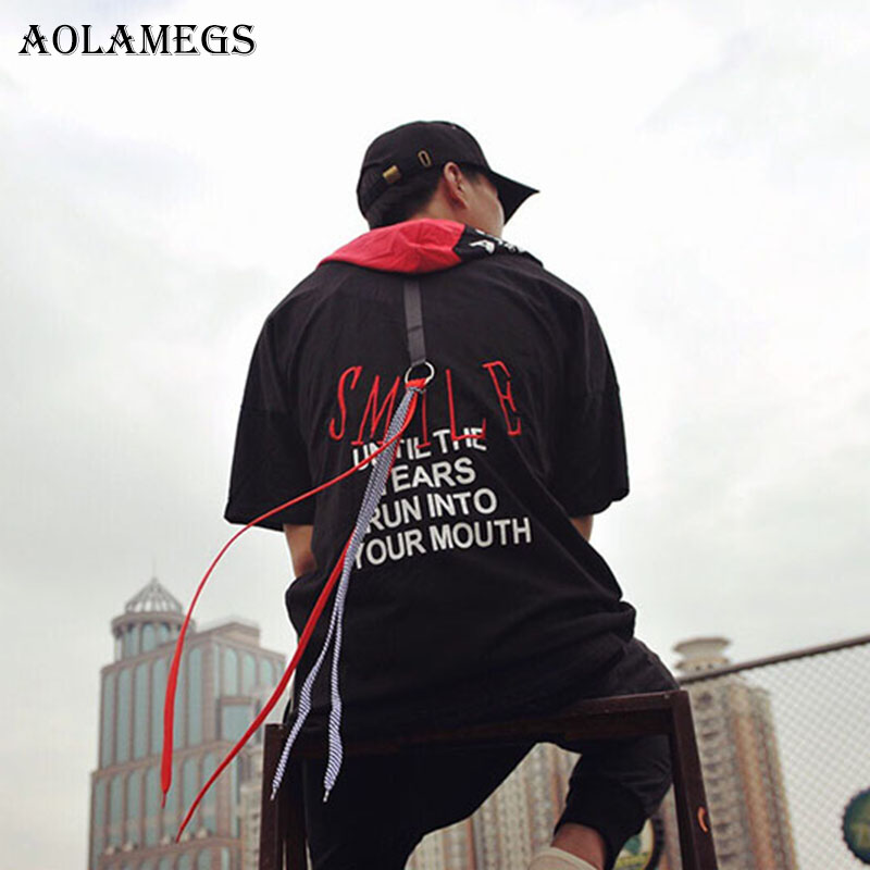 Aolamegs T Shirt Men Side Zipper Ribbon hoddie Hip Hop Mens T shirts Boys Summer Cotton T Shirt Short Sleeve O-neck Fashion Tee