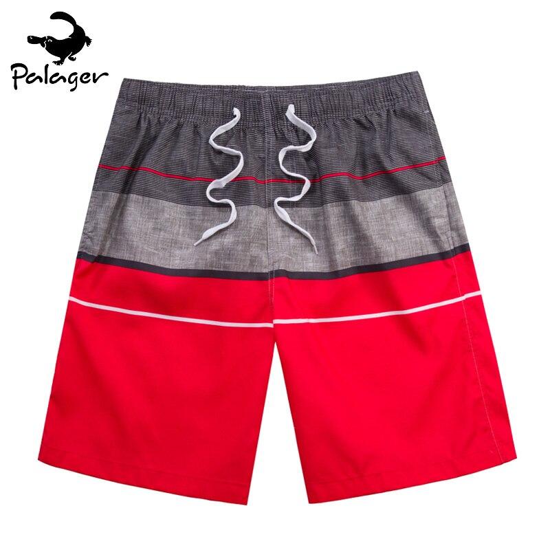 Palager Board Shorts Men Swimwear Summer Beach Shorts Men Quick Drying Mesh Boardshorts Vintage Red Male
