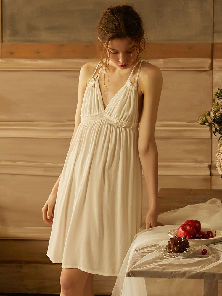 Image 2 - Summer Vintage Viscose Sleepwear Elegant Female Princess White Cotton Nightgowns Sleeveless Sexy LingerieNightgowns & Sleepshirts   -