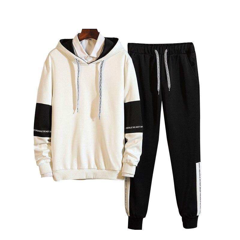 Bormandick Mens Casual Sets Autumn Tracksuit Male Sweatshirt Long Sleeve Pants Letter Casual Sportswear Men Suits  KXP18 M61-48