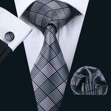 LS-1199 Mens Tie Grey Plaid 100% Silk Classic Barry.Wang Jacquard Woven Hanky Cufflinks Set For Men Formal Wedding Party