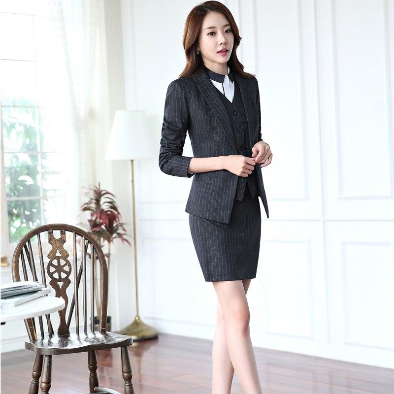 Grey Dames Avec Jupe Mode Gilet De Formel Uniforme Rayé Tenues Styles Complet Blue Professionnel Pièces 3 Vestes black dark Pour Bureau HWYeE9ID2