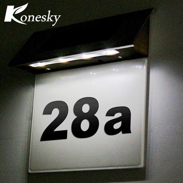 led sensor licht edelstahl solar 4 led beleuchtung t rschild lampe hausnummer au enbeleuchtung. Black Bedroom Furniture Sets. Home Design Ideas