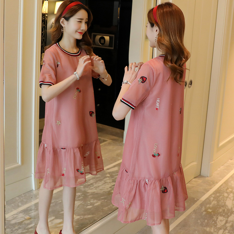 Embroidery Floral Maternity Dress Summer Fashion Pregnancy Clothes Casual Chiffon Maternity Clothing Of Pregnant Women