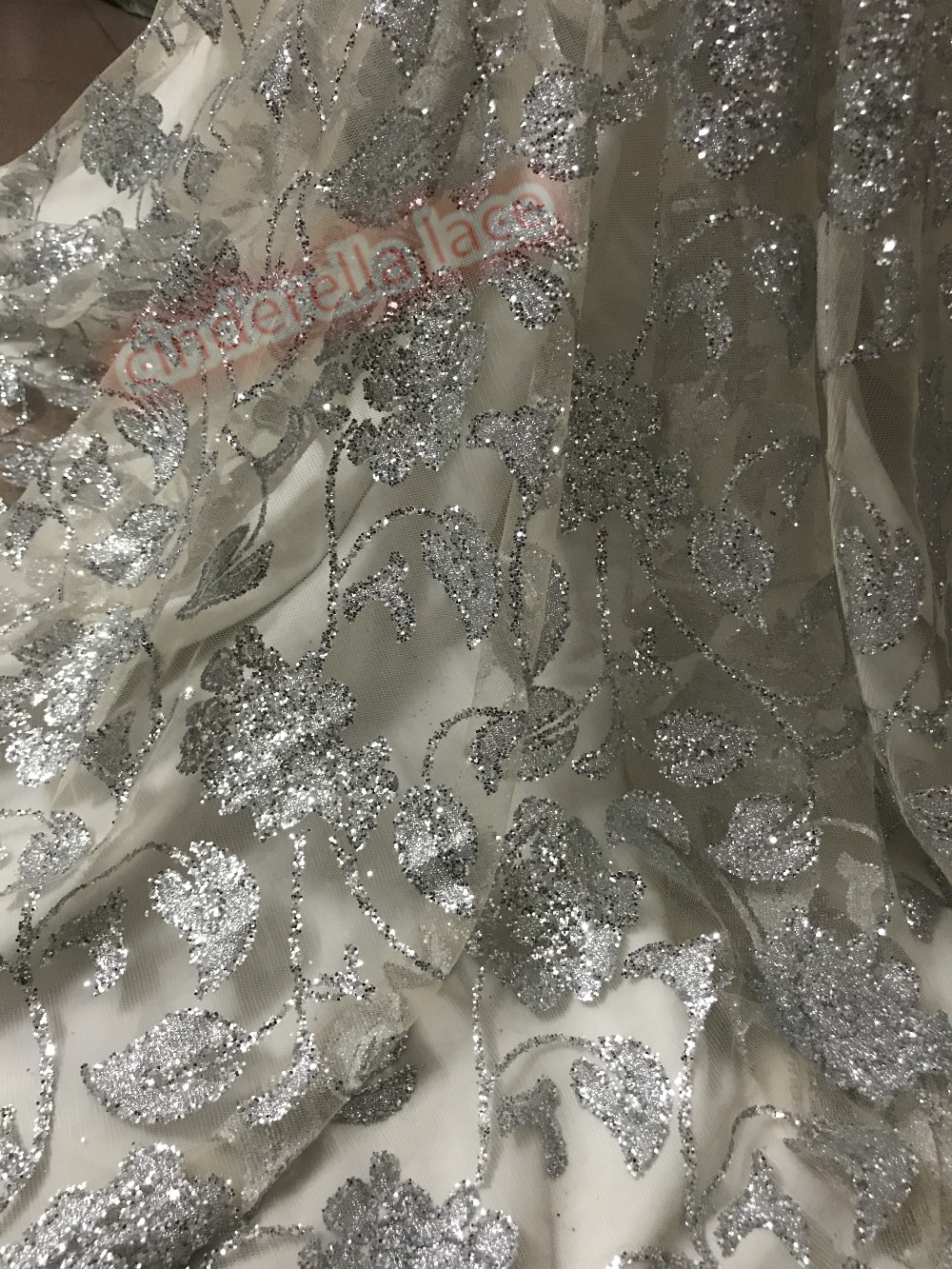 5yards unique glitter glued sparkle tulle mesh lace fabric JIANXI C 51114 for evening dress fashion