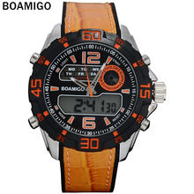 Mannen Sport Horloges Mannen Dual Display Horloge Rubber Band Boamigo Merk 2017 Orange Mannen Digitaal Analoog Led Horloge 30M waterdicht(China)