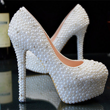 Fashion Imitation Pearl white and Ivory Wedding Dress Shoes Custom Made Size High Heel Bridal Shoes Party Prom Women Shoes