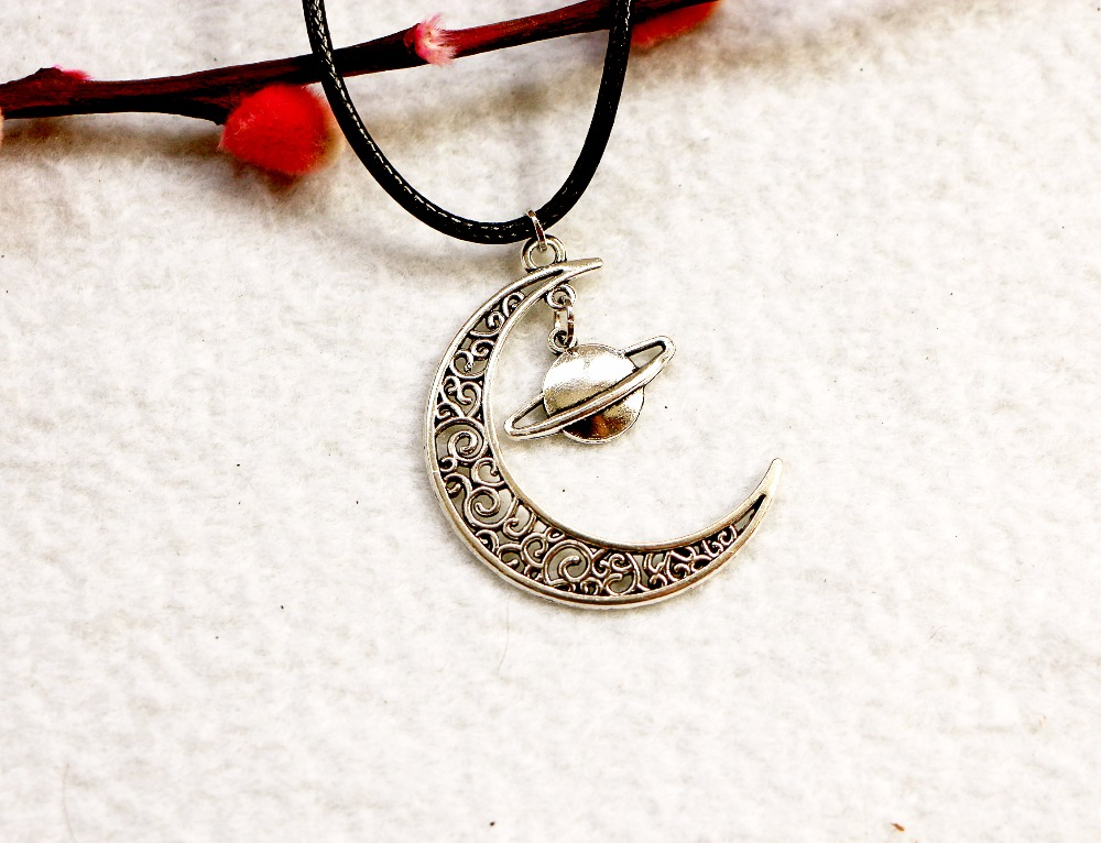 New Durable Black Faux Leather Moon and Planet Cord Choker Charm DIY Necklace Pendant Retro Boho