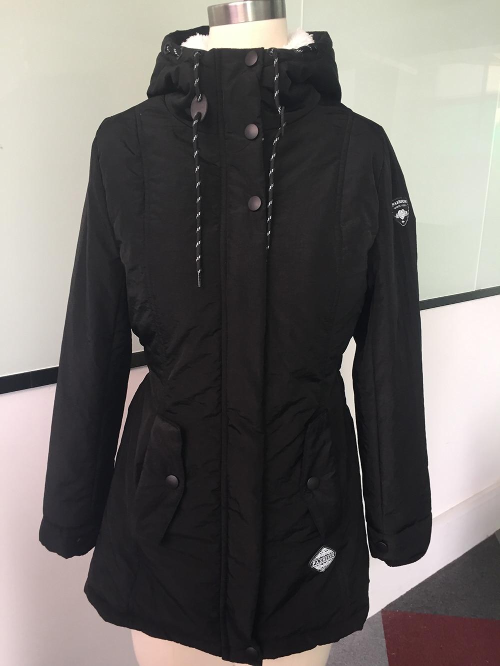 Winter Warm Coat Female Windproof Slim Outerwear Fashion Elastic Waist Zipper Pocket Hooded Drawstring Overcoats Autumn Clothes 2