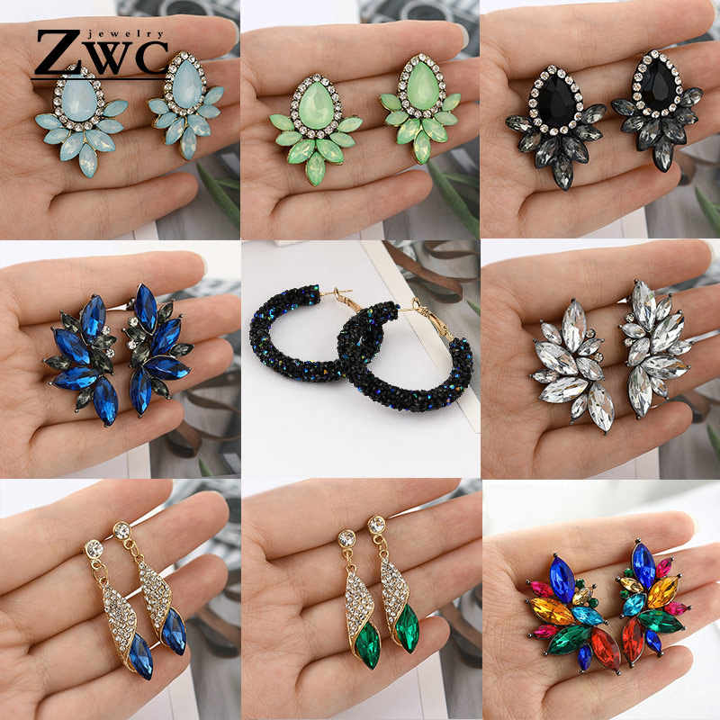 ZWC Fashion Vintage Korean Multicolor Zircon Drop Earrings for Women Girls Engagement Party Charm Rhinestone Earrings Jewelry