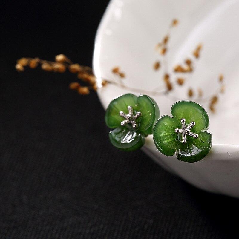 Pure Silver Inlay Ways Hetian Jade Jade Flower Wholesale High-grade Stud Earrings Earrings