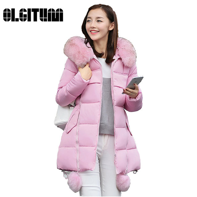 OLGITUM 2017 NEW Winter Long Cotton Padded Women Fur Collar Coat Star Wadded Solid Jacket Warm Outerwear