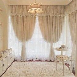 1 sztuka 2 warstwy tkaniny + tiul zasłony do salonu  biały woal koronki dekoracji i blackout beżowy tkaniny do okna zasłony