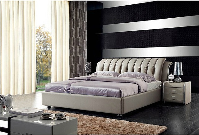 Contemporáneo muebles de dormitorio moderno cama de cuero genuino hechos en China
