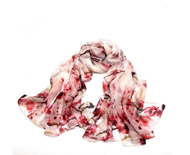 2018 New style women summer flora print silk scarf soft wraps high quality
