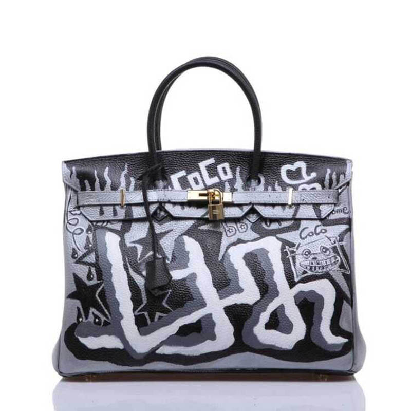 2018 New Fashion Graffiti Women Shoulder Bags Top-handle Bags Messenger bags Ladies Bags leather handbags S152 2018 new fashion top handle bags women cowhide genuine leather handbags casual bucket bags women bags rivet shoulder bags 836