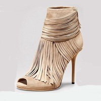 Shoes Woman Charming Beige Suede Fringed Heels Ankle Boots Female Sexy Peep Toe Strappy Stiletto Sandal Booties Real Photos