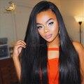 100% Virgin Brazilian Full Lace perucas de cabelo humano com franja / Glueless Lace Front Wig 130 densidade peruca cheia do laço para a mulher preta