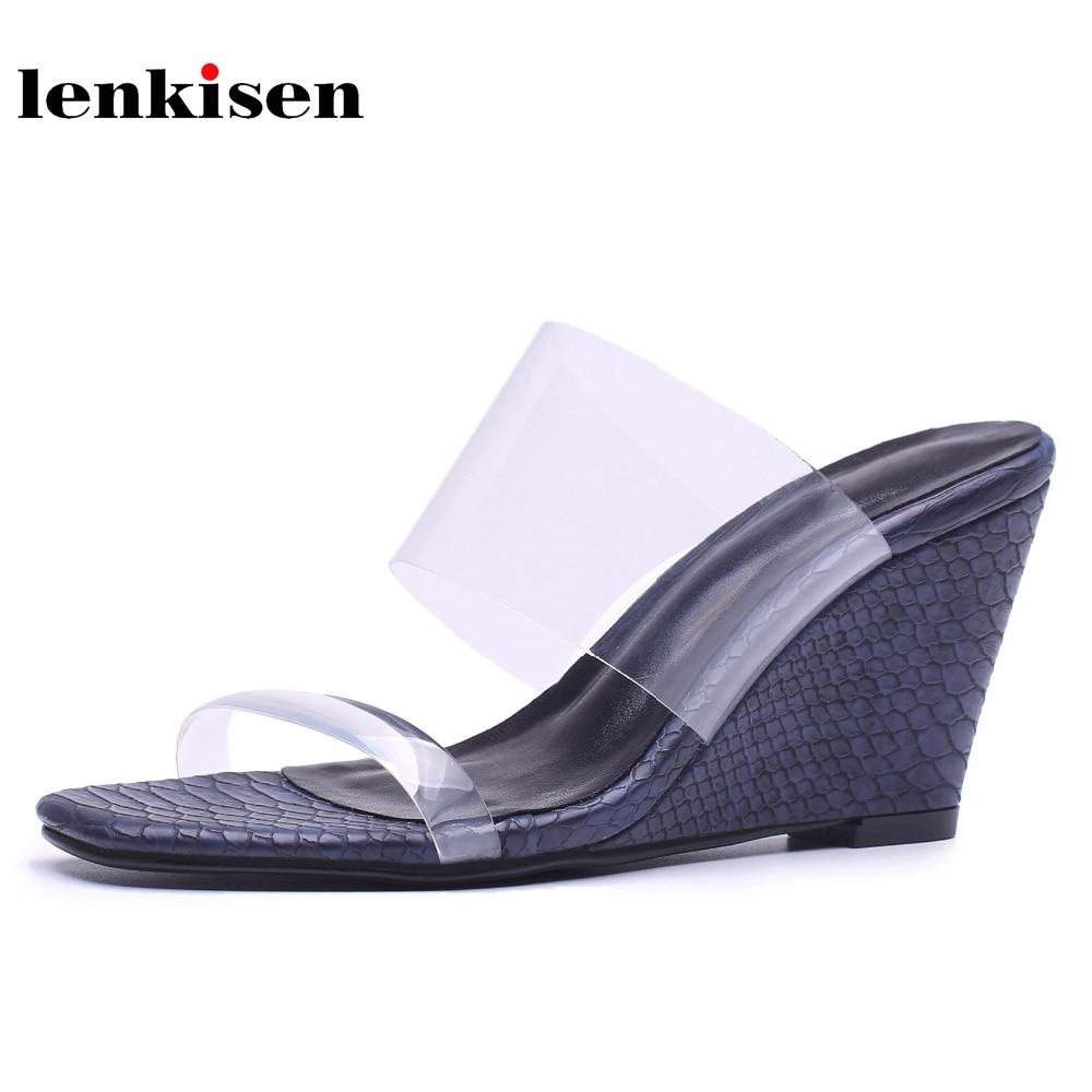 Lenkisen 2018 offre spéciale transparent extérieur pantoufle simple nouveauté style confortable cales haute rue mode femmes chaussures L93