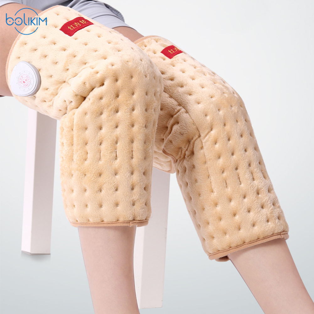 BOLIKIM Physiotherapy Instrument For Knee Joint Hot Compress Knee Massage Instrument Electrothermal Kneepad Parents Elders Gift electric knee massager belt leg knee joint moxa moxibustion hot compress rheumatism leggings field heating kneepad support brace
