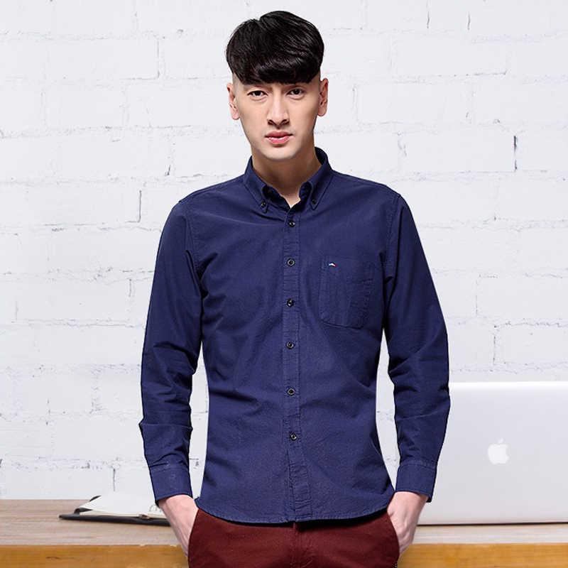Langmeng 2017 printemps décontracté à manches longues Slim Fit vêtements Homme robe chemises Camisa Social Masculina Chemise Homme