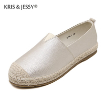 Autumn Spring Leather Upper Hemp and Rubber Bottom Women Flat Shoes  Standard Size Woman Casual Shoes