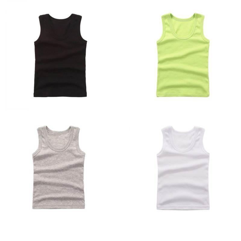 3-8Y Kids Underwear Cotton Girls Boys Tanks Tops Baby Boy Summer Vest Girl Camisole Children Solid Undershirt Sleeveless Vest 4