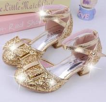 2019 New  Sequins Girls Princess Shoes Kids Sandals Wedding Party Ball Dancing Cinderella Costume