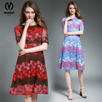 MUMUZI Brand Dress Summer Women High Quality Embroidery Patchwork Hollow Out Dress Party Half Sleeve Slim