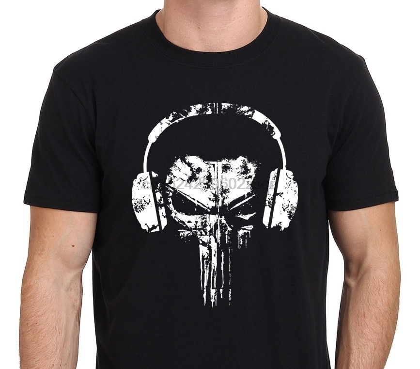 The Punisher Skull Headphones Logo Funny T-Shirt Mens Round Neck Short Sleeves Bottoming T-shirt(1)