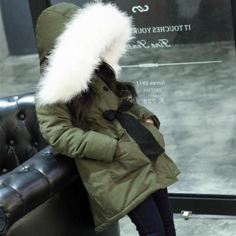 2019 חדש חורף ילדי תרמית כותנה מעיל מעילי חג המולד ילדי ברדס פרווה צווארון רוכסן הלבשה עליונה תינוק בנות מעיילי