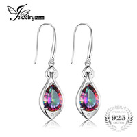 Fashion Pear 7ct Genuine Gem Stone Natural Rainbow Fire Mystic Topaz Dangle Earrings Drop Real Solid