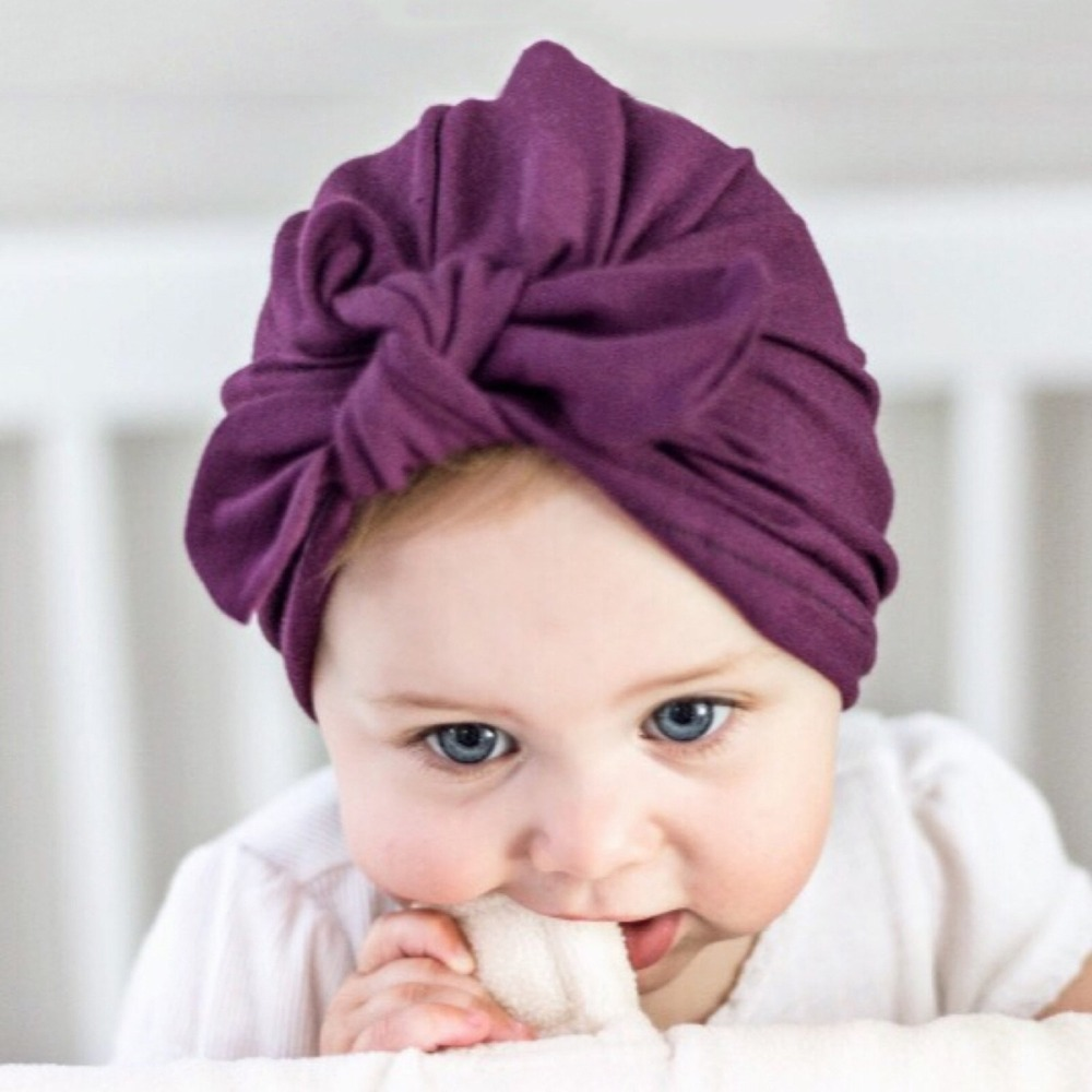 81b6a0d4fcb Baby girls Solid Knot Hats Newborn Hood Turban Cotton Knotted Cap Unisex  Toddlers Large bow Infant