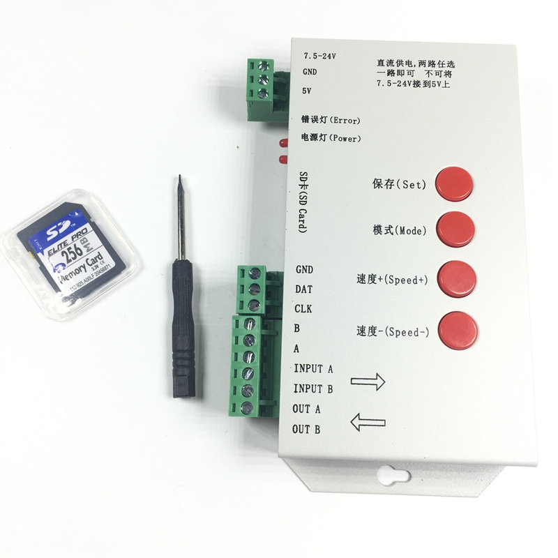 T1000S SD Card WS2801 WS2811 WS2812B LPD6803 LED 2048 Pixels Controller DC5~24V T-1000S RGB LED Controller