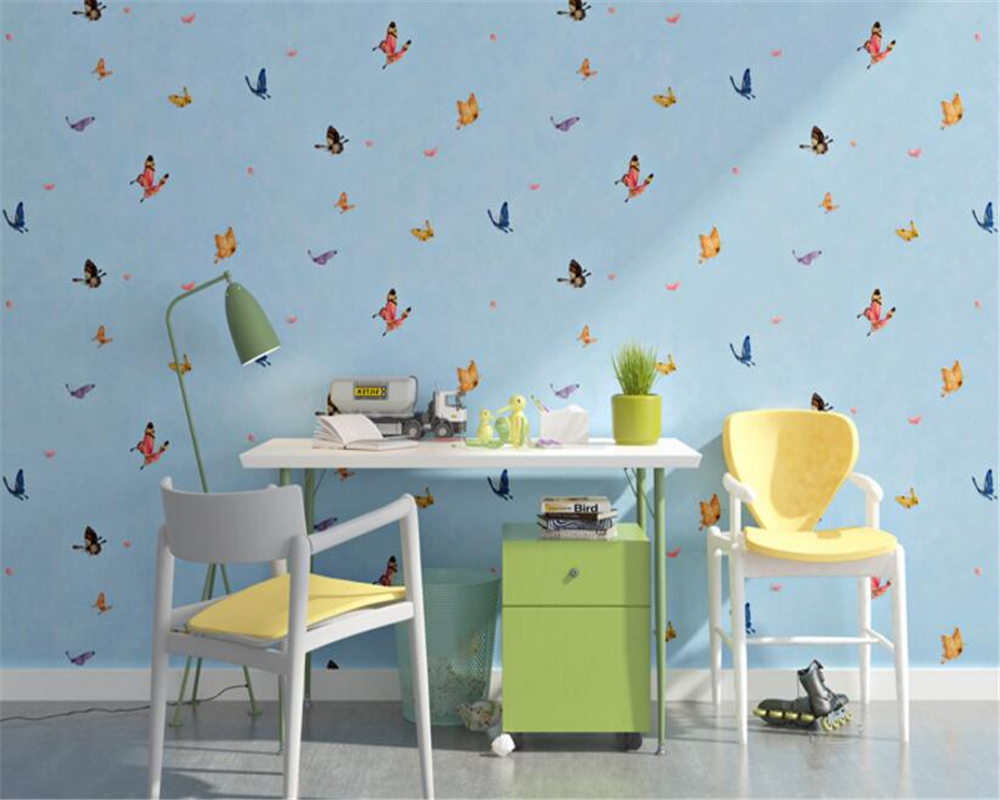 beibehang Boy girl fashion personality beautiful room blue butterfly 3d wallpaper interior full house background papel de parede fashion house