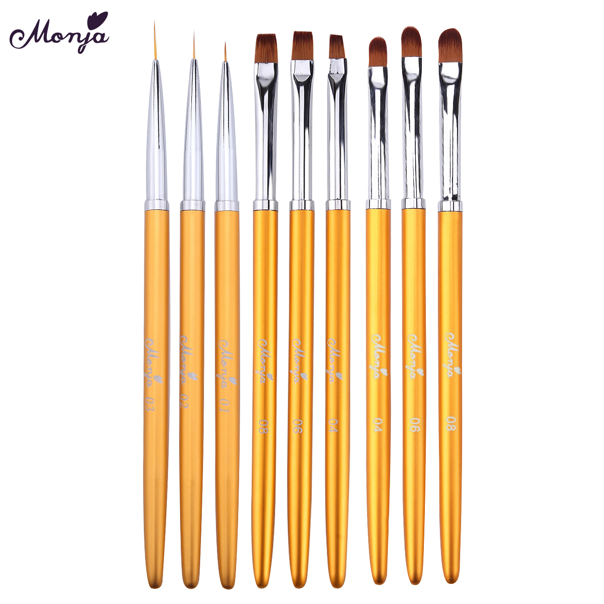 Monja 3Pcs/set Nail Art Gold Handle UV Gel Extension Builder Drawing Brush Flower Stripe Lines DIY Painting Pen Manicure Tool