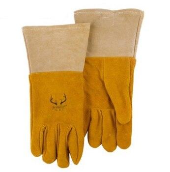 Deer leather arc welding gloves welder split deerskin leather work glove deerskin leather work glove welder safety gloves deer leather tig mig welding gloves
