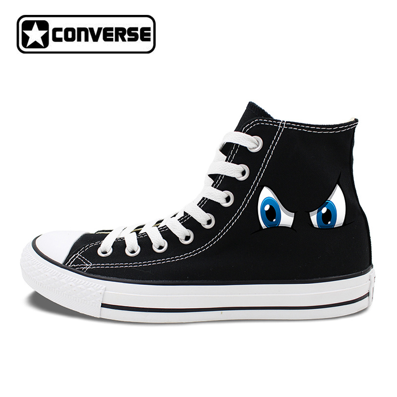 цена на Original Design 2 Colors Converse All Star Shoes Cartoon Eyes High Top Canvas Sneakers White Black Chuck Taylor