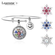 Здесь можно купить  Legenstar Snap Button Bracelet &Bangle Love Face Charm with Rhienstoen Snowflake Charm Button for Mother