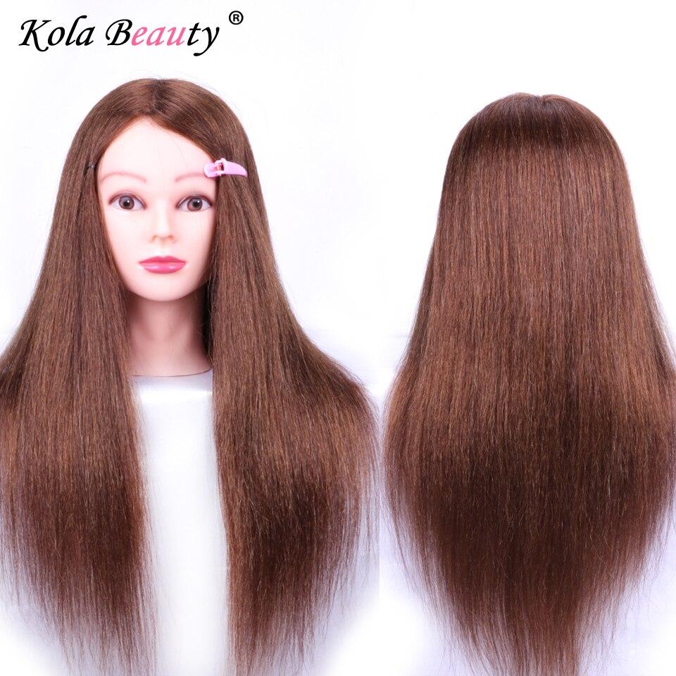 Парикмахер манекен головы Природный 100% реального Человеческие волосы женский манекен волос голова куклы для Макияж практика манекен голов...