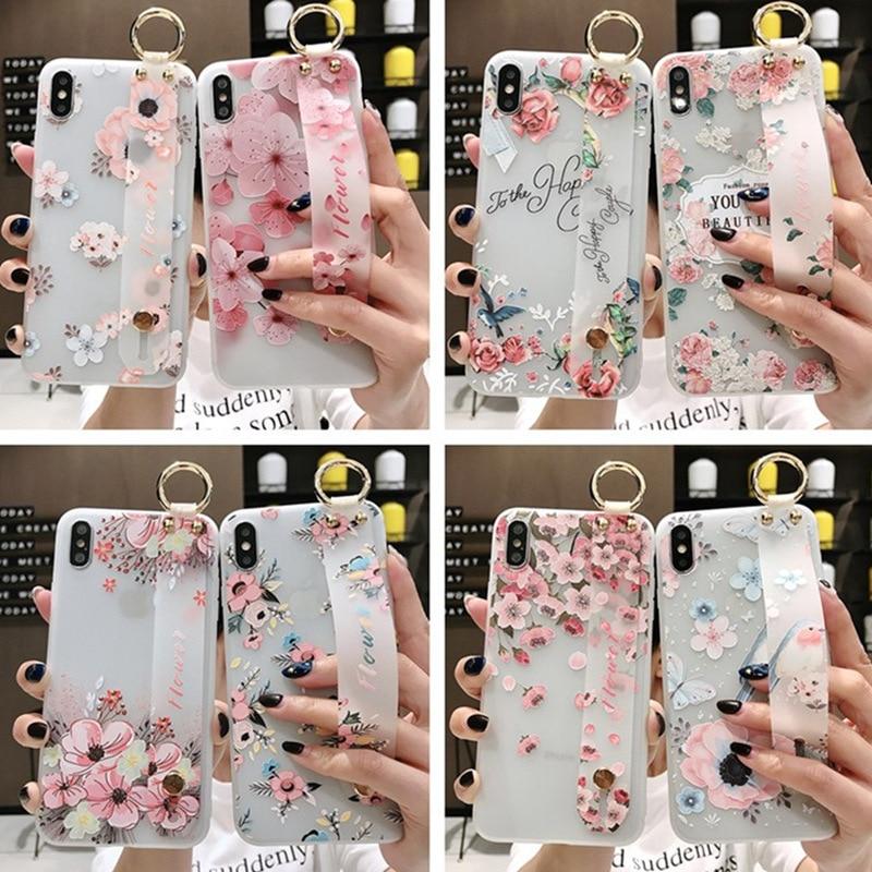 Kwiat wzór miękkie silikonowy pasek na nadgarstek uchwyt na telefon dla iphone X Xs max XR 6 6 S plus etui na telefony pokrywa Coque dla iphone 7 8Dopasowane obudowy   -