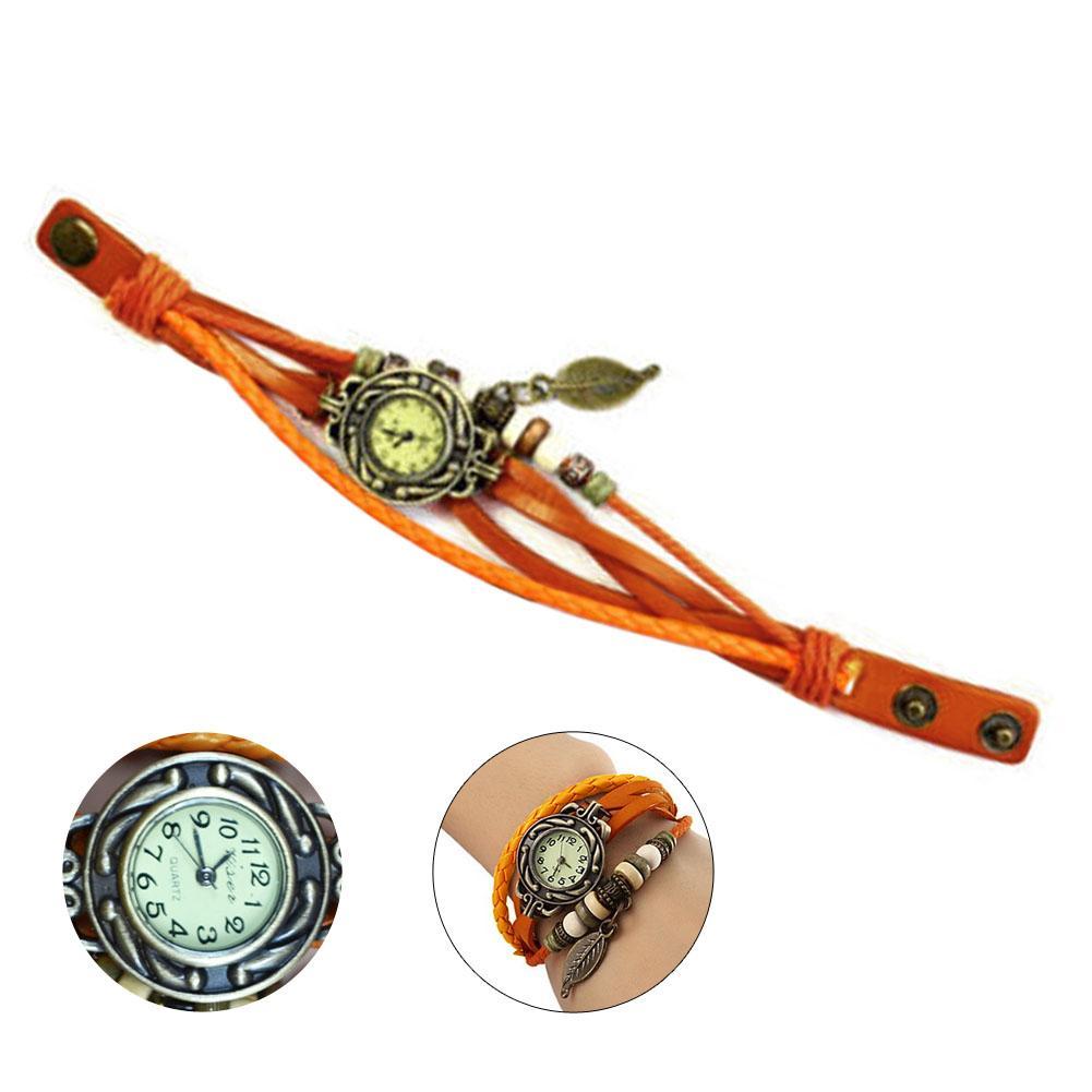Vintage Ladies Woven Beads Bracelet Quartz Wrist Watch Decorative Leaf Pendent Round Dial Leather Button Orange Wristwatch