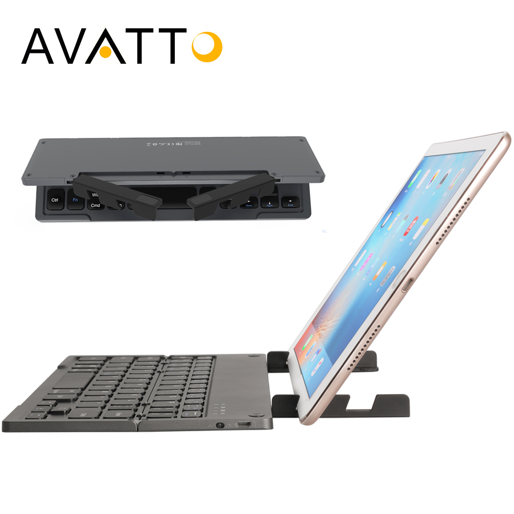 [AVATTO] Portable Bluetooth Folding Mini Keyboard with Tablet Stand,BT Wireless, Foldable Keypad For IOS/Android/Windows ipad portable rollable foldable bt wireless keyboard folding intelligent magnetic switch bluetooth keyboard for smartphone tablet