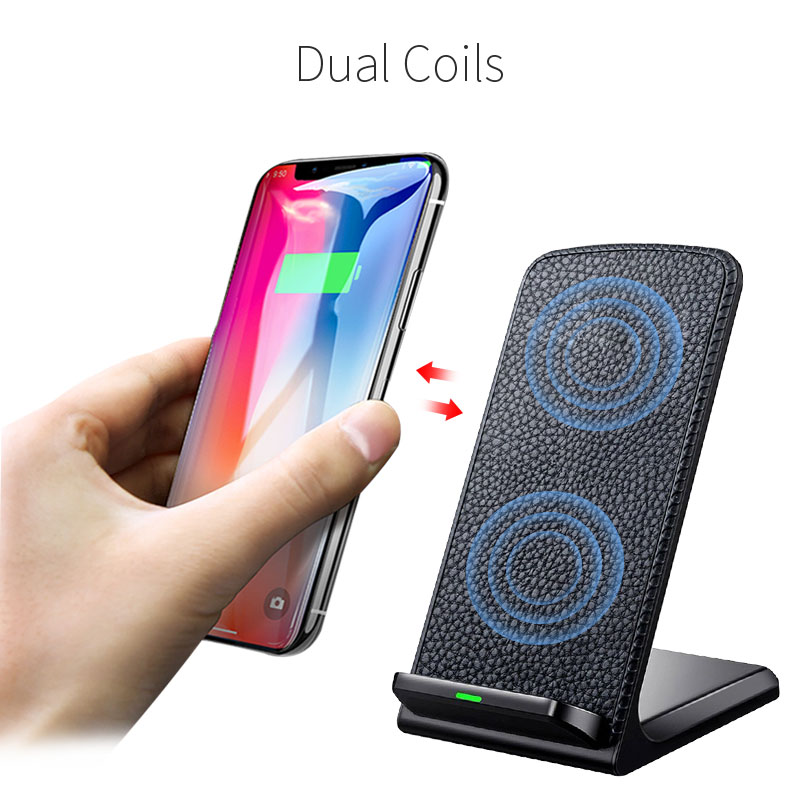 Image 2 - 10W Fast Qi Wireless Charger Phone Stand Wireless Charging Induction Charger For iPhone XR XS Max X 8 Plus Samsung Galaxy S9 S8-in Mobile Phone Chargers from Cellphones & Telecommunications