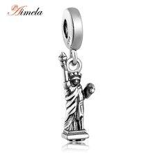 925 Estatua de la Libertad de Plata Cuelga Los Granos Del Encanto Para La Joyería Que Hace Fit Pandora Pulsera DIY Accesorios de Joyería Fina