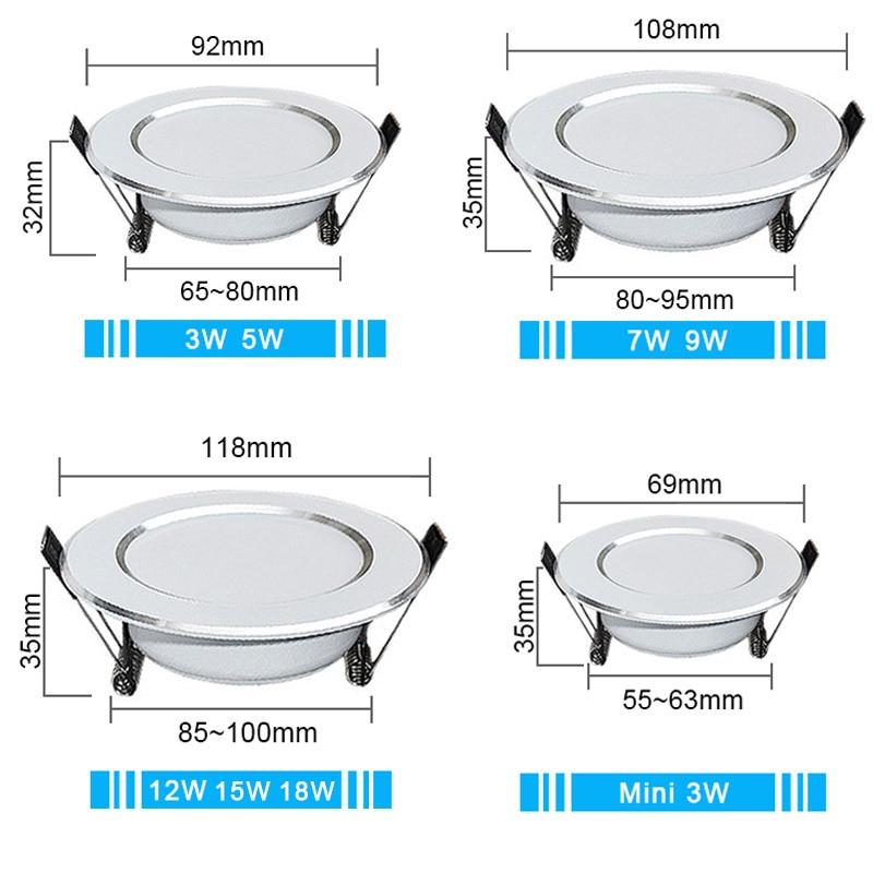 LED Downlight 3W 5W 7W 9W 12W 15W 18W Round Recessed Lamp 220V 230V 240V 110V Led Bulb Bedroom Kitchen Indoor LED Spot Lighting